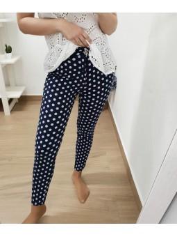 Pantalones azul marino lunares