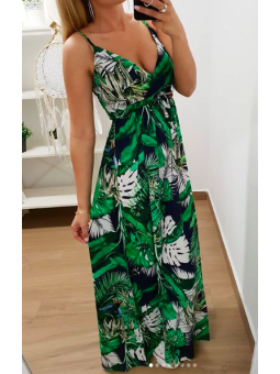 Vestido largo verde oscur...