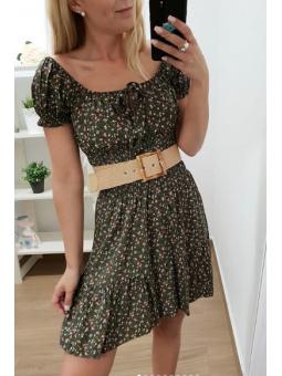 Vestido flores verde...
