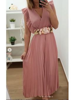 Vestido plisado rosa largo