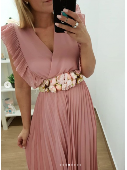 Cinturón dorado flores rosa