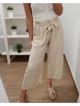 Pantalones beige palazzo midi