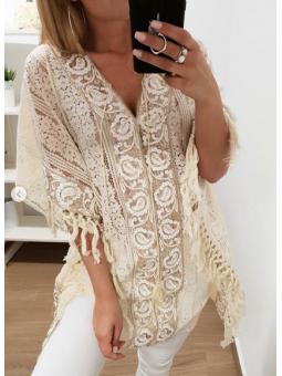 Blusón/vestido beige bordado