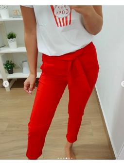 Pantalones lazada rojos