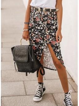 Falda negra florecitas