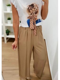 Pantalones palazzo camel...