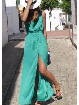 Vestido largo verde mar...