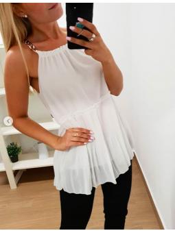Blusa blanca tirante cadena